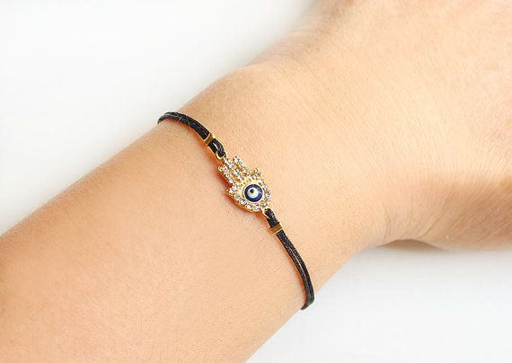 Hamsa hamsa pulsera, oro, oro de mal de ojo, de la mano de Fátima, pulsera de cuerda negra, ojo turco, Árabe, mejor amigo regalo, regalo madre