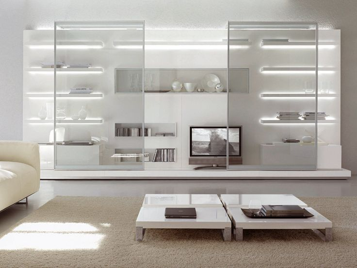 Glass wall unit with built in led lighting interiors spaces pinterest glass walls and for Glass wall units for living room