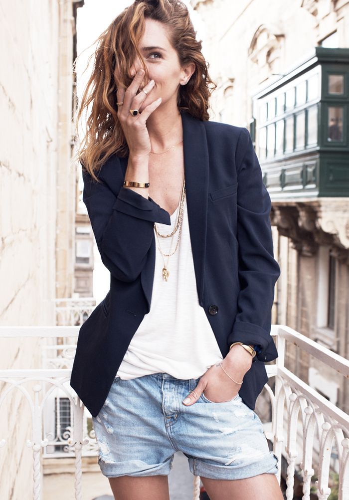 Denim cut-offs and a blazer