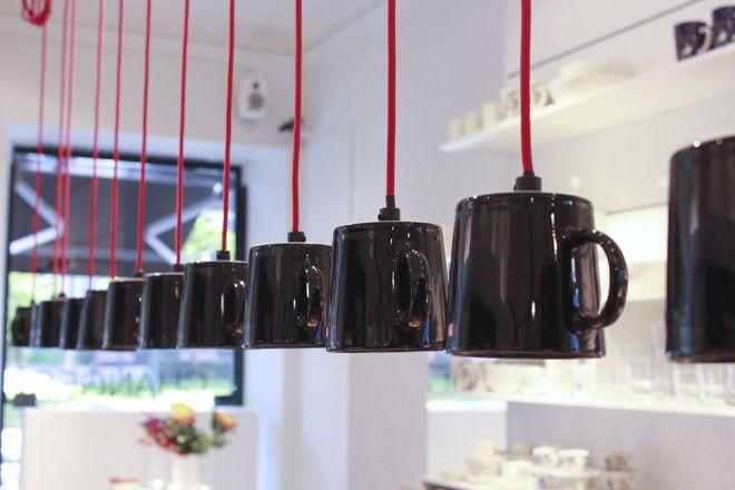 Iittala Esplanade Flagship Store. Teema mugs made into lights. Via Kettukarkki.