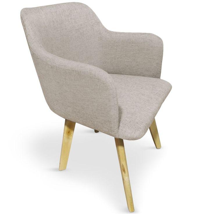 Chaise style scandinave Candy Tissu Beige