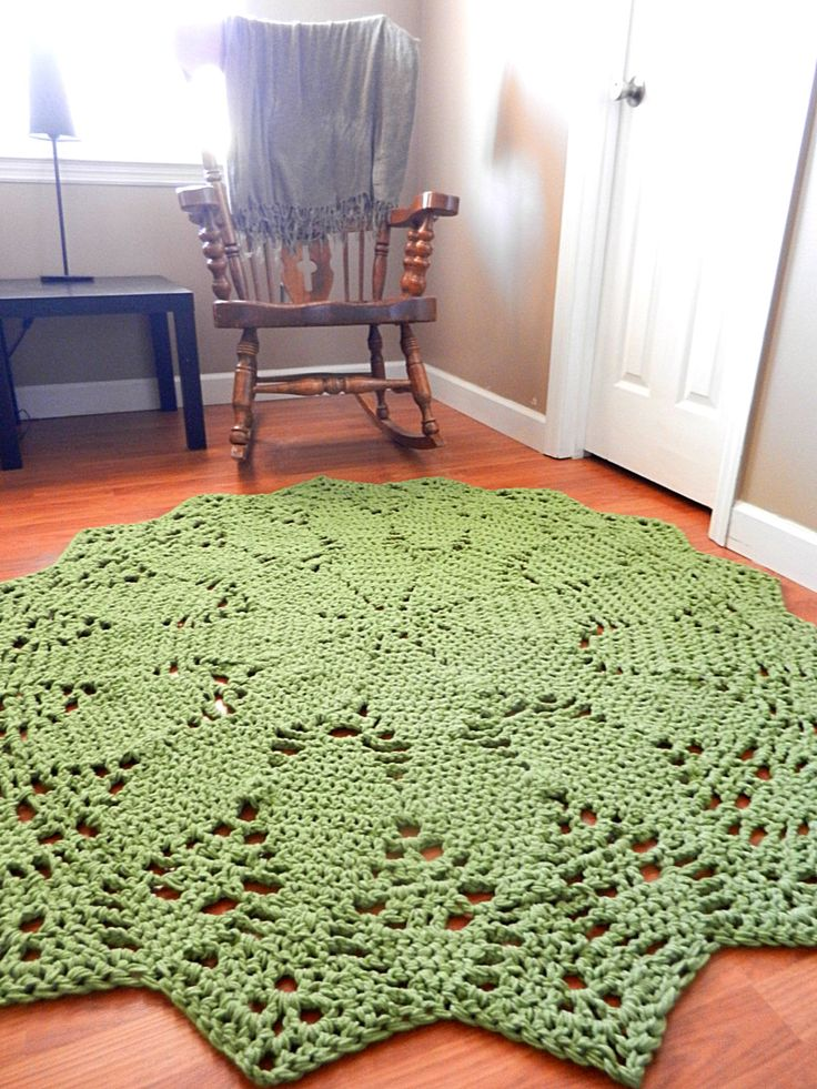 Giant Crochet Doily Rug- Mossy Green Geometric Petals Design- 5 foot-Lace- Handmade-Cottage Chic-  Oversized- home decor- floor-. $155.00, via Etsy.