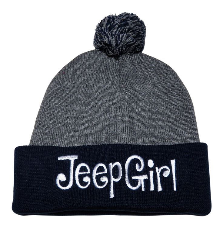 """NEW! White Stitch Embroidered """"Jeep Girl"""" on Navy/Grey Stretch Pom Pom Beanies! Just in time for winter! Order now at www.shopspiritcaps.com!"""