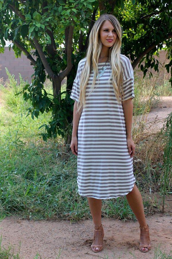 Stripe Midi Dress + Pockets!