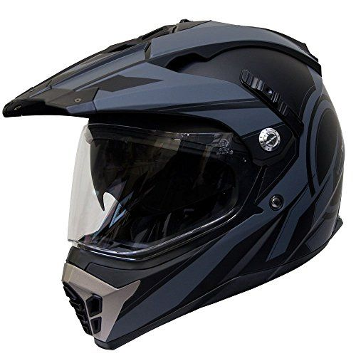 Voss 600 Dually Dual Sport Helmet with Integrated Sun Lens and Removable Peak – XXL – Two Tone Reaction Graphic (XXL, Two Tone Black)