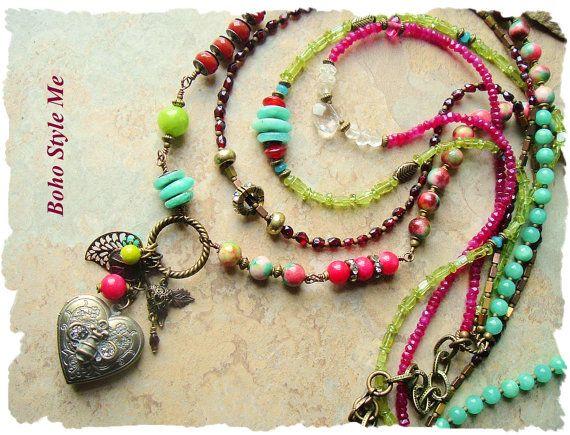 Boho Colorful Gemstone Necklace Multiple Strand Rustic Boho
