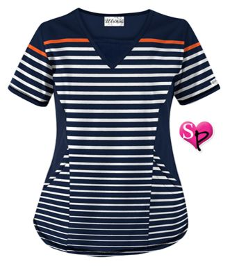 UA Sassy Stripes Navy Print Scrub Top Style # STN868SA  #uniformadvantage #uascrubs #adayinscrubs #scrubs #scrubtop #printscrubs #sophiespicks
