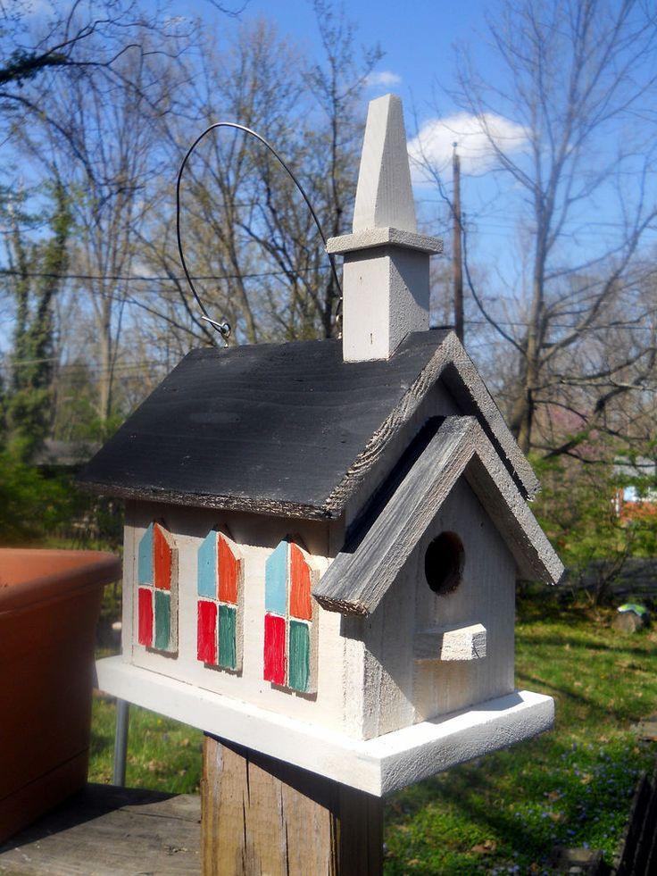 Birdhouse 2 Nest Church Folk Art Primitives Painted