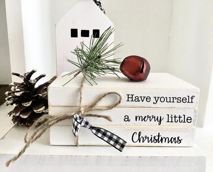 Christmas Book Bundle Mini Book Stack Christmas Decor Etsy Christmas Books Christmas Diy Farmhouse Christmas Decor