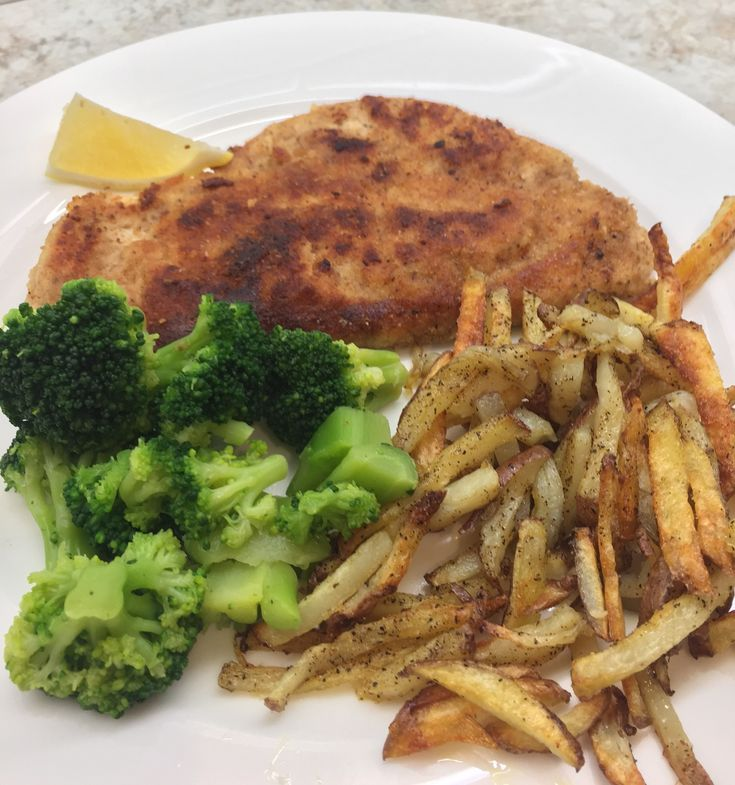 Chicken schnitzel, pan fries and steamed veg gets supper on the table fast.