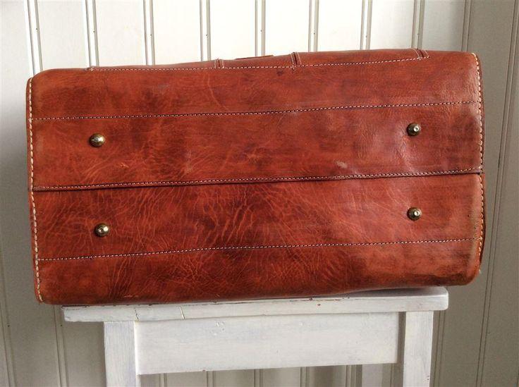 Retro vintage cognac väska/ bag i äkta skinn läder på Tradera.com -