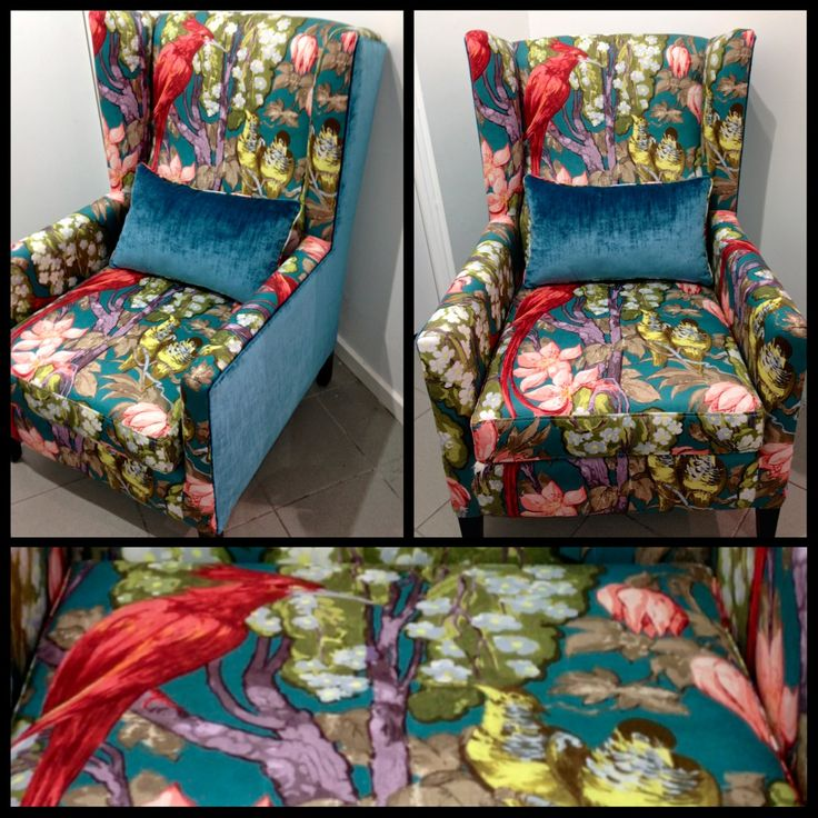Tropical Birds - customised armchair incorporating two complementing fabrics.