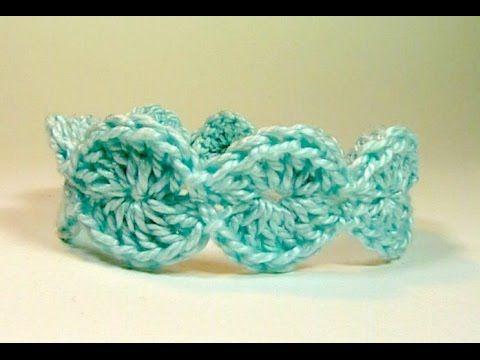 Brazalete de ganchillo, tejido con lana - YouTube