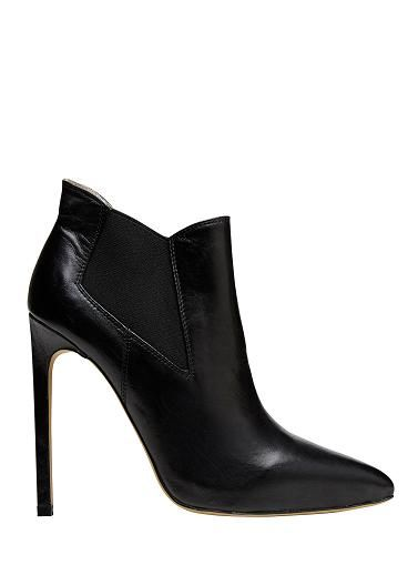 Seed, Shop 28, Collins Place.  High heel point toe ankle boot with low cut topline and elastic side gusset. Leather upper with manmade lining and sole.