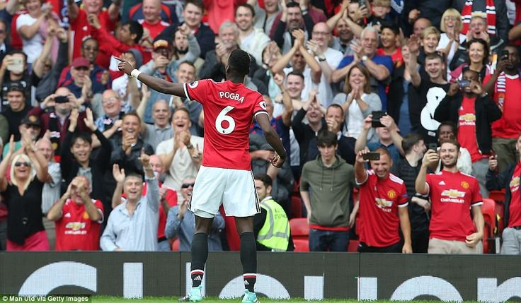 Pogba dances in front of a jubilant Old Trafford crowd after capping a fine afternoon with Manchester United's fourth goal