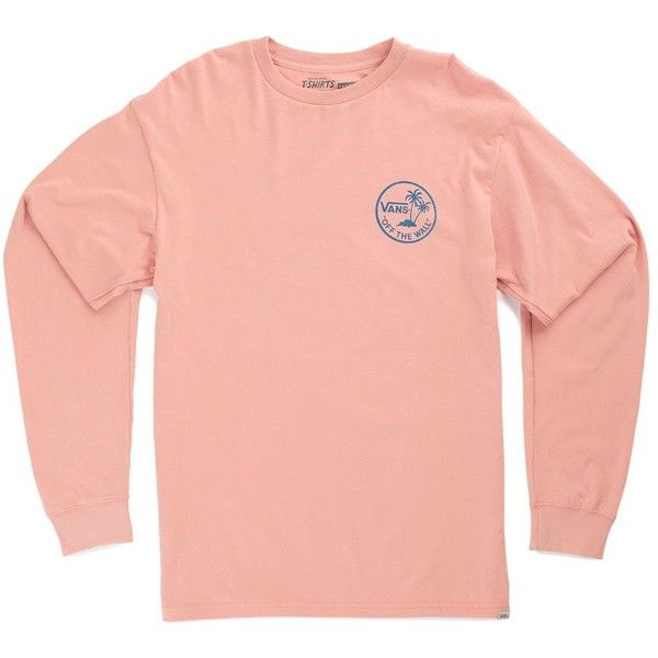 Vans Vintage Mini Palm Long Sleeve T-Shirt ($26) ❤ liked on Polyvore featuring men's fashion, men's clothing, men's shirts, men's t-shirts, pink, mens tall t shirts, mens cotton t shirts, mens palm tree shirt, mens longsleeve shirts and mens long sleeve t shirts
