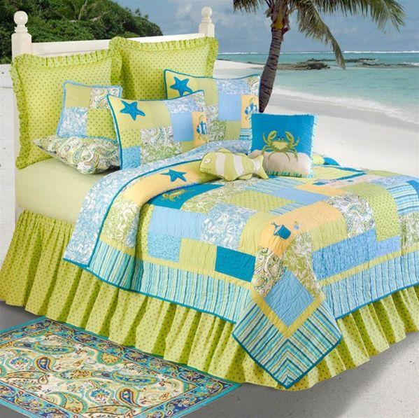 beach style quilts ~ Paul's Home Fashions ~ lime w/ aqua, blue
