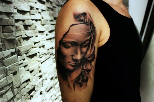 Virgin Mary tattoo by Mariusz Kaczmarek