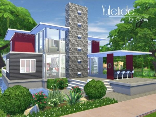 The sims resource yuletide modern house by chemy sims 4 for Minimalist house sims 2