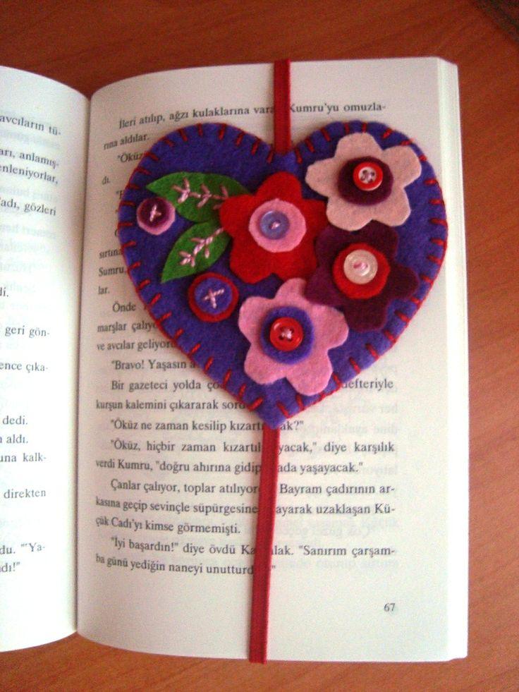 Felt Valentine's day Bookmark