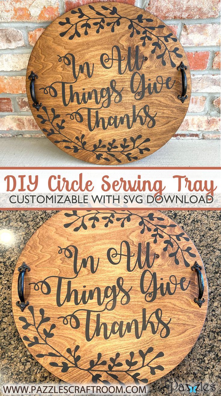 Circle DIY Serving Tray with SVG download Tray, Craft room