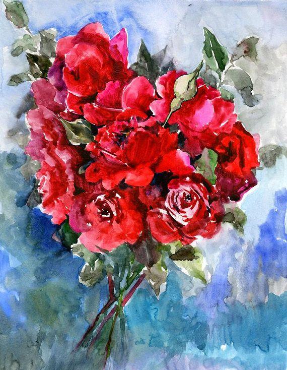 Dark Red Roses Deep Red Red Wall Art Original Watercolor Red