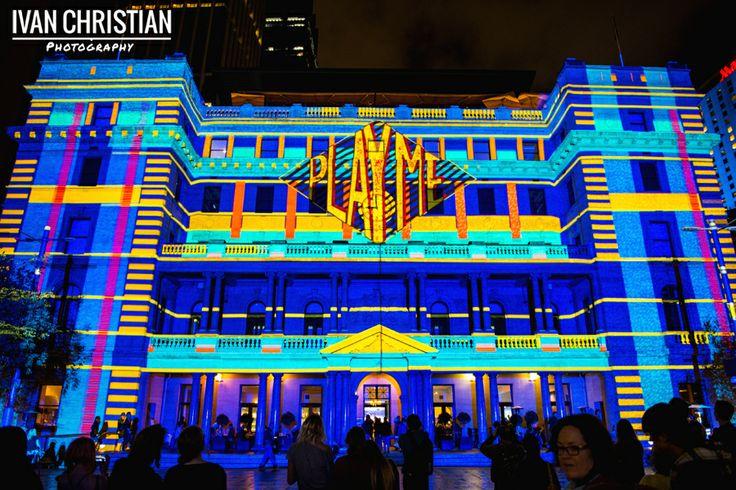 Vivid Sydney, building facade light installation, Circular Quay - Ivan Christian Photography