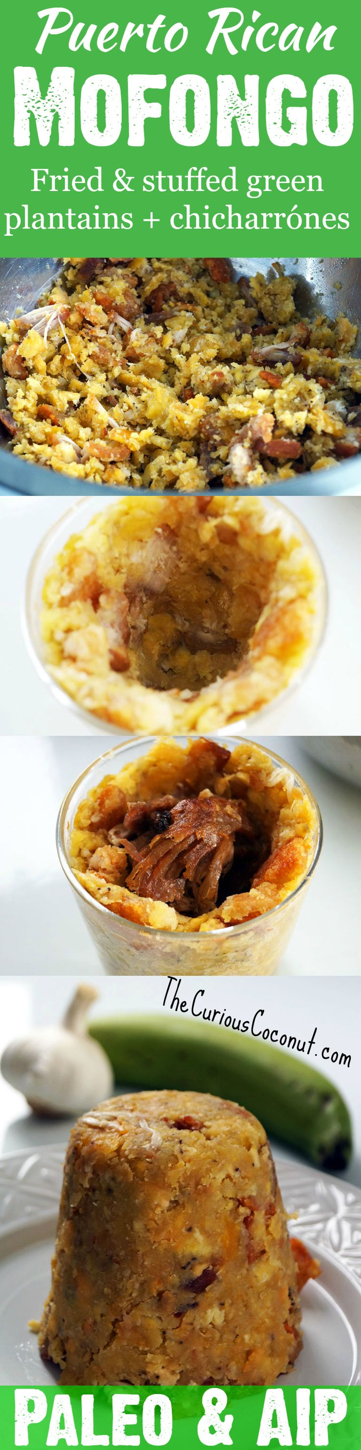 Puerto Rican Mofongo Relleno - Delicious fried green plantains with chicharrones or bacon stuffed wtih meat. A naturally Paleo and #AIP dish from an authentic family recipe! // TheCuriousCoconut.com