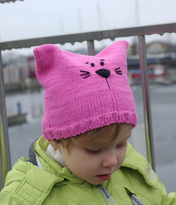 pink pussyhat cat cat beanie cat knit hat cat by RedOgeeSheep