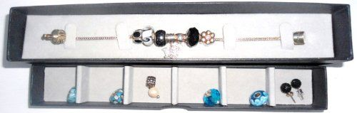 BEAUTIFUL STERLING SILVER CHARM / BEAD BRACELET SET IN A JEWELLERY BOX WITH EXTRA BEADS   EARRINGS