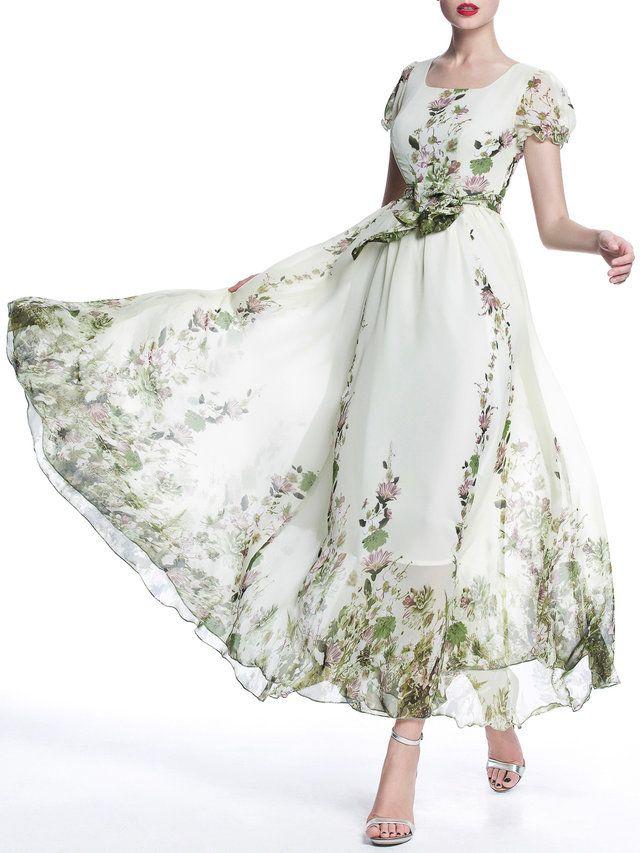 A-line Short Sleeve Boho Chiffon Crew Neck Maxi Dress - StyleWe.com