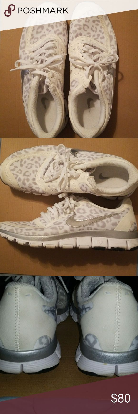 White Leopard Nike 5.0 Shoes White Leopard Nike shoes, worn a few times and are in great shape. If you have paypal I'll give you a discount through transaction with that (win-win for both of us). Nike Shoes Sneakers
