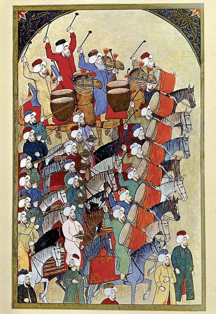 Parade of musicians in honor of the sultan -  Turkish miniature painting, 1610