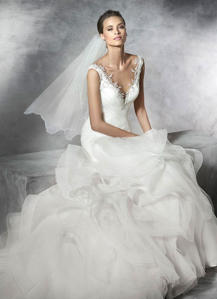 45 best pronovias images on pinterest short wedding for Around the neck wedding dresses
