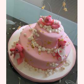 """Детский торт """"Розовые мишки спят"""""""