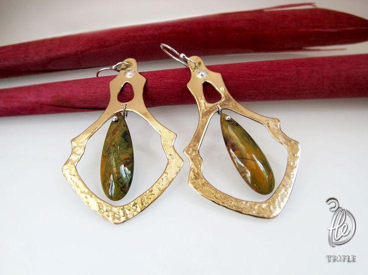"""Купить серьги канделябры """"Soledad"""" с яшмой - болотный, зеленый, желто-зеленый, крупные серьги, канделябры"""