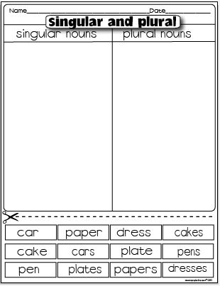 The Lesson Plan Diva: Freebies Singular nouns/ plural nouns sorting activity