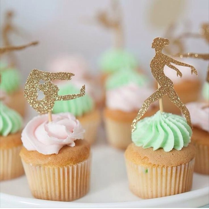 Gymnast cupcake toppers in gold glitter for a girls gymnastics birthday party | Toppers by Memories are Sweet | Cupcakes by Studio Cake