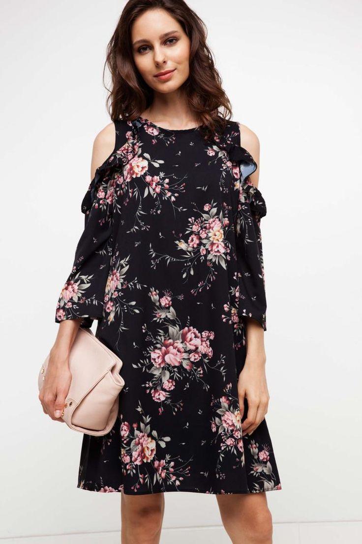 DeFacto Siyah Kadın Omuz ve Fırfır Detaylı Elbise 1