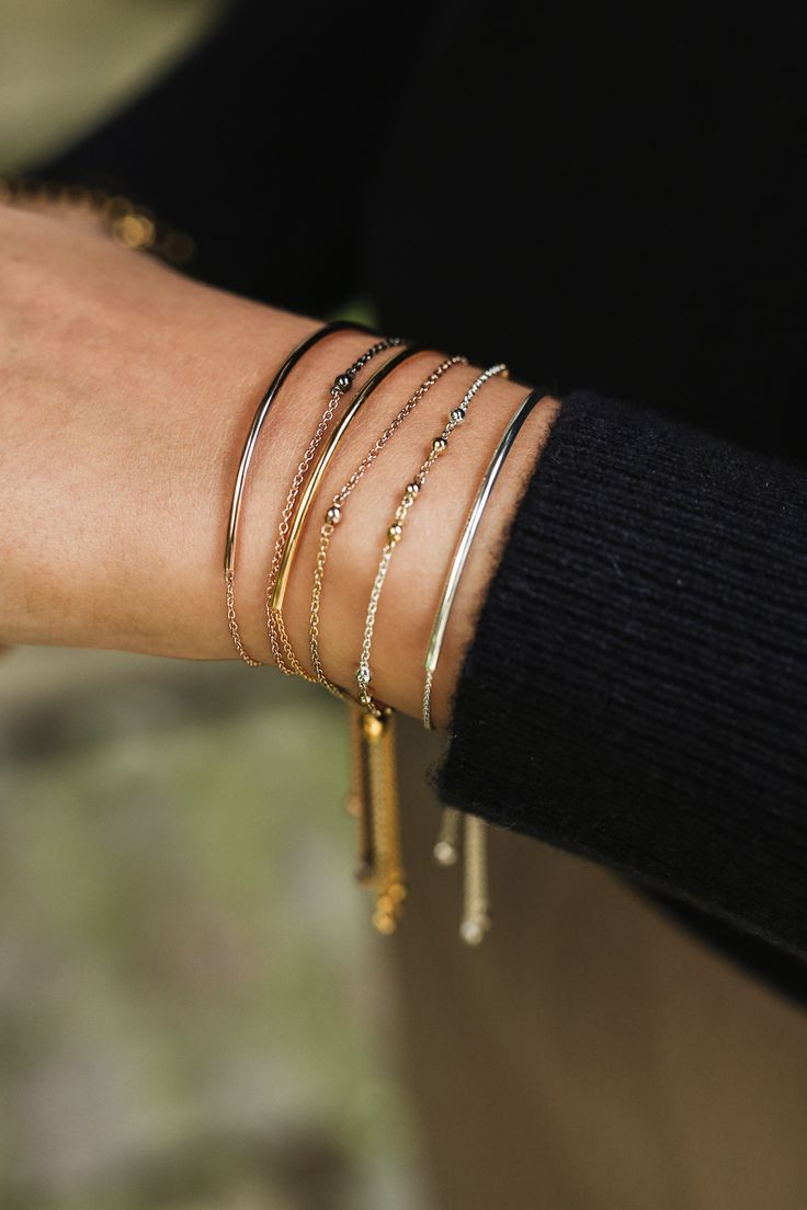 Mixed metal stacks are perfect Christmas gifts - featuring our Cylinder Kulas and Piet Kulas with an adjustable clasp to fit every wrist   Astley Clarke