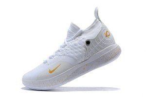 f921b6fdc57 Men s Nike Zoom KD 11 EP Triple White Gold boys Basketball Shoes ...