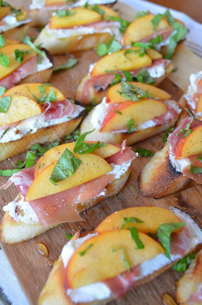 Crostini with Peaches, Ricotta, Prosciutto, Honey and Basil - From ...