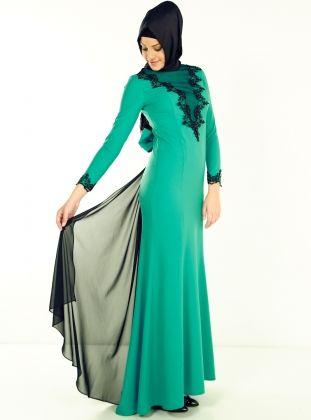 Önü Dantel Arka Fiyonk Detayli Kuyruklu Abiye Elbise- Açik Yeşil - Modaysa :: Zinde Market