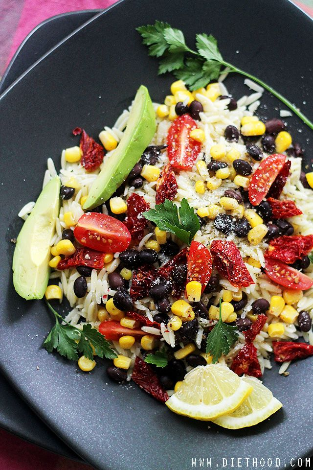 Southwestern Orzo Salad | I made a salad just like this the other night with black beans + quinoa. Super good!! :))