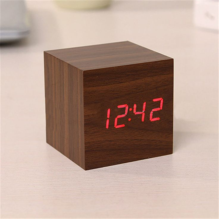 Modern Wooden Cube Digital LED Thermometer Timer Calendar Desk Alarm Clock #Affiliate