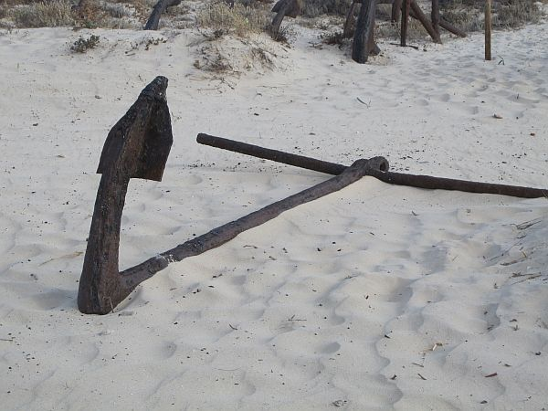 A lone Anchor in the sand at the Anchor Graveyard, Barril Beach, Santa Luzia