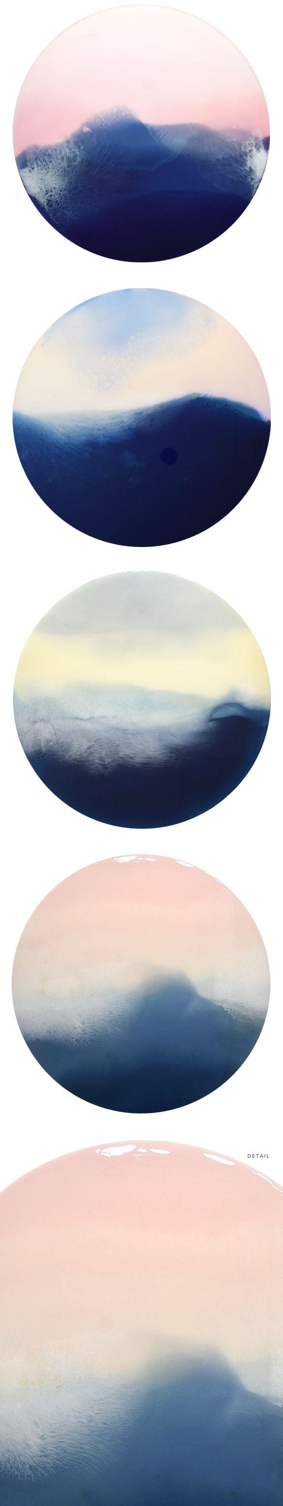 """resin on circular wood panels <3 """"horizons"""" by marina dunbar"""