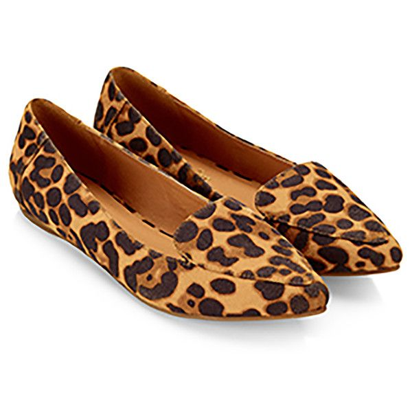 Accessorize Cameron Leopard Pointed Flat Shoes ($56) ❤ liked on Polyvore featuring shoes, flats, flat pointy shoes, flat heel shoes, leopard print shoes, pointed-toe leopard flats and pointed-toe flats