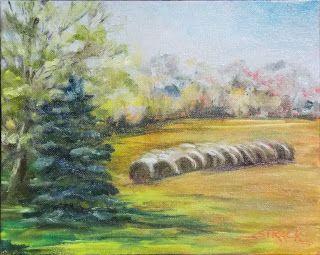 Hay Bales at Myer's Farm, 8x10 oil, $195. #painting #pleinair #art
