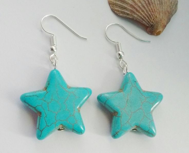 Turquoise Star Earrings,Star Earrings, Boho Earrings, Festival Earrings, Gift For Her, Star Jewellery, Gift For Teen, Inspiration Earrings, by TwiggyPeasticks on Etsy
